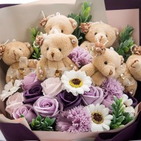 Purple Themed Soap Flower and Teddy Bear Bouquet