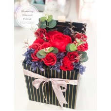 Gorgeous Red Soap Rose Gift Box w/ Preserved Hydrangea