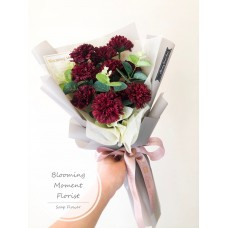 Burgundy Red Carnation Bouquet with Greenery