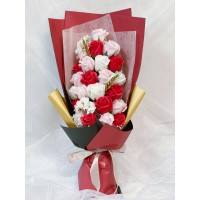 Cascading Red Themed Soap Flower Bouquet