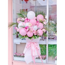 Grand Opening Pink Flower and Balloon Standing Display