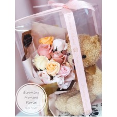 Teddy Bear and Soap Rose Bouquet Gift Set