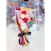 Red Soap Rose and Camellia Bouquet With Gift Box