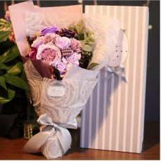 Purple Themed Soap Flower Bouquet In Gift Box