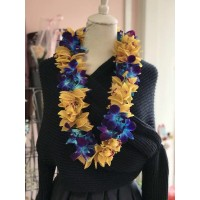 Double Blue and Yellow Graduation Lei
