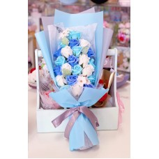 Blue Themed Soap Rose Bouquet