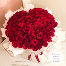 Heart Shape Bouquet 99 Stems of Red Roses