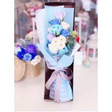 Blue Soap Rose and Camellia Bouquet with Gift Box