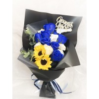 Blue and White Soap Rose Bouquet