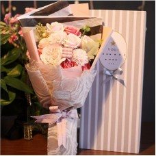 Pink Themed Soap Flower Bouquet In Gift Box