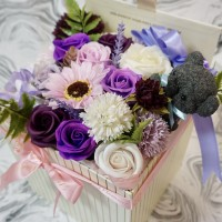 Luxurious Arrangement of Soap Flowers in Square Box