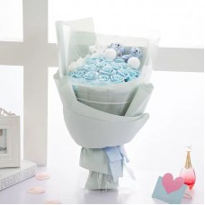 Light Blue Soap Rose Flower Bouquet