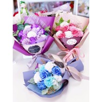 Petite Soap Rose and Carnation Bouquet (Various Colors)