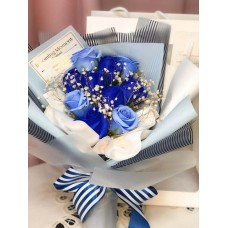 Blue Soap Rose And Baby's Breath Bouquet with Gift Bag