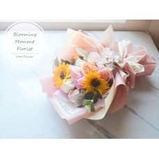 Sunflower and Rose Soap Bouquet with Transparent gift box