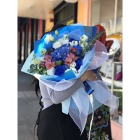 Blue Rose and Pink Alstro Bouquet