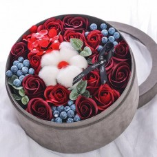 Luxurious Arrangement of Red Soap Flowers in Velvet Gift Box
