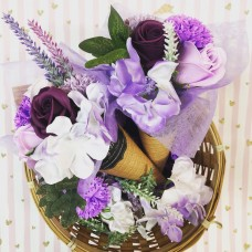 Ice Cream Cone Purple Soap Flowers