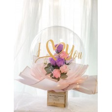 Transparent Clear Sphere Bobo Balloon Flower Bouquet with Greeting Message