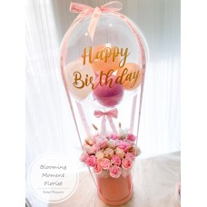 Pink Roses Soap flower Box with Bubble Bubble Balloon
