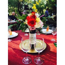 BM Exclusive Red and Cream Wine Bottle Centerpiece