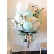 Grand Opening Turquoise theme Flower and Balloon Standing Display