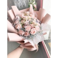 Elegant Pink Soap Rose Bouquet with Rainbow Baby's Breath