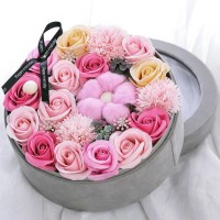 Luxurious Arrangement of Pink Soap Flowers in Velvet Gift Box