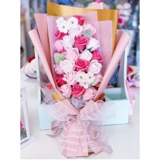 Pink Themed Rose Soap Flower Long Bouquet