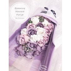 Cascading Periwinkle Purple Soap Rose Bouquet