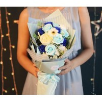 Blue Themed Soap Flower Bouquet In Gift Box