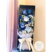 Fantasy Blue Rose Bouquet in Long Gift Box