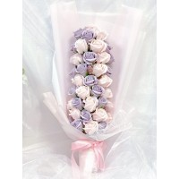 Elegant Long Purple and Pink Rose Soap Flower Bouquet