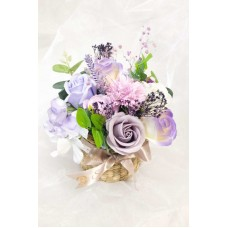 Purple Themed Soap Flower Variety Basket