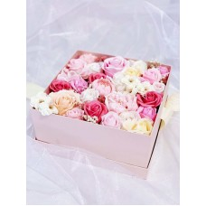 Pink Themed Flower Square Gift Box