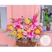 Congratulatory Colorful Flower Basket