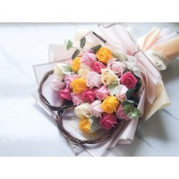 Soap Rose Bouquet with Heart Twine