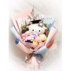 Hello Kitty Graduation Plushy Soap Flower Bouquet