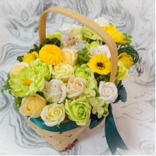 Bright Yellow and Green Flower Basket Arrangement