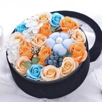 Luxurious Arrangement of Summer Soap Flowers in Velvet Gift Box