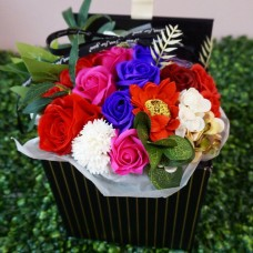 Arrangement of Colorful Soap Flowers in Black Gift Box