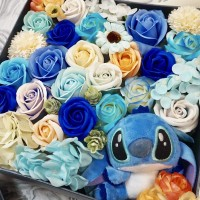Cute Stitch Blue Themed Soap Flower Box Arrangment