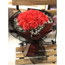 Red Soap Rose Bouquet with Baby's Breath