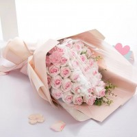 Two Tone Pink Soap Flower Bouquet - 30 Roses