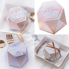 10pcs Rose Gold Marble floral Hexagon Gift Boxes (4 Designs)