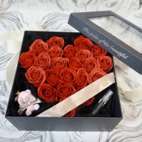Heart Shaped Soap Rose Gift Box with Scented Stone Bear set