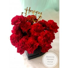 Black Heart Shape Box with Red Carnation | Mother's Day Flower box