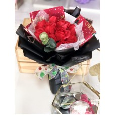 Christmas Themed Red Soap Rose Bouquet
