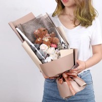 Bear Doll Bouquet with Long Gift Box Brown