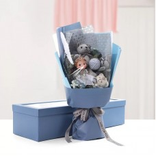 Bear Doll Bouquet with Long Gift Box blue
